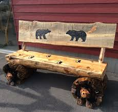 log home furniture and decor chainsaw carved rustic half log bear bench w back chainsaw