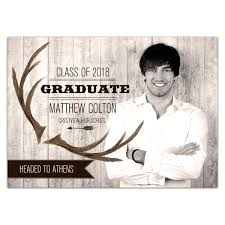 high school graduation announcement rustic antler banner photo high school graduation announcements