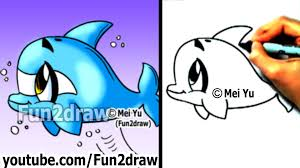 how to draw a cartoon dolphin in 2 min cute drawings easy