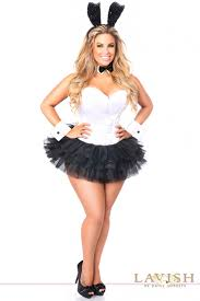 cheap plus size costumes black flirty tuxedo bunny corset plus size costume