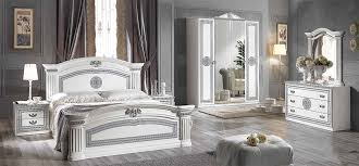 Alex Classic Italian Bedroom Furniture Set White  Silver - White high gloss bedroom furniture set
