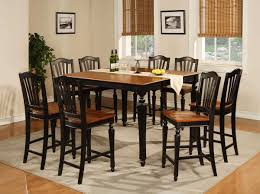 High Kitchen Table Set - Black dining table with wood top