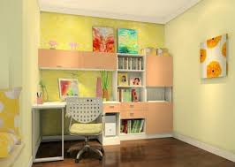 vibrant kids study room interior design with yellow wallpaper and