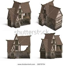 old fashioned house four views old fashioned house over stock illustration 16878754
