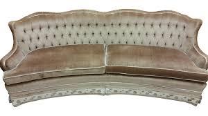 hollywood regency style beige velvet sofa chairish