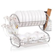 Kitchen Utensils Design by Furniture Home Tier Dish Rack Functional Durable Drying Wire