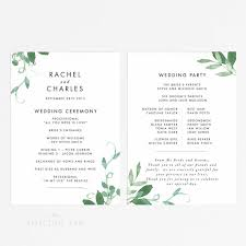 print wedding programs digital printable modern botanical wedding program printable