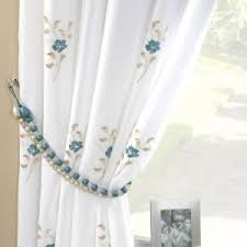 White And Teal Curtains Pair Of Pearls Fully Lined Embroidered Voile Curtains Teal Blue