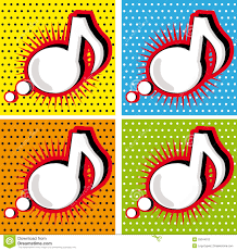speech bubble music note in pop art style stock photography