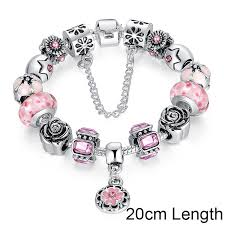 pink glass bead bracelet images Bamoer silver original glass bead bracelet for women with safety jpg