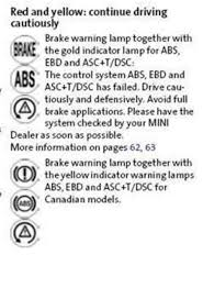 mini cooper warning lights meanings break in a triangle in a circle with an arrow waring light