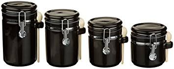 black kitchen canisters sets amazon com anchor hocking 4 ceramic canister set with cl