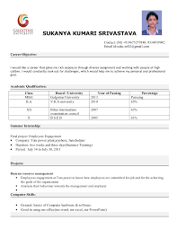 resume format for mba finance resume format of fresher mba resume