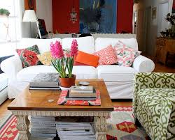 Bright Red Sofa Slipcovered Sofas In Living Room Shabby Chic With Art Above Sofa