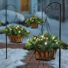 christmas hanging baskets with lights gold silver ornament pre lit christmas hanging basket w stand