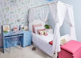 girls canopy bed with light blue desk kids shabby chic style and