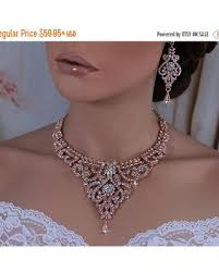 bridal set necklace earring images Deals on rose gold or silver bridal wedding necklace earrings set