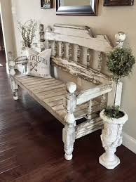 bench made from full size headboard and footboard