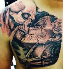 till do us part shoulder skeletons tattoos