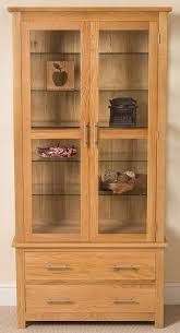 wood and glass cabinet oslo solid oak and glass display cabinet 90 x 40 x 185 cm amazon