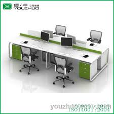 Circular Office Desk M8 Circular Steel Tube Braced Frame White 4 People Office Desk
