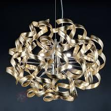 Esszimmerlampen Modern Led Gold Hängeleuchte Mit Blattgold 50 Cm Kaufen Lampenwelt De