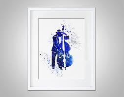 music wall decor watercolor art print bass jazz player modern 8x10 wall art decor