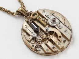 crystal rope necklace images Steampunk necklace clockwork pendant with antique gold pocket jpg