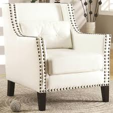 Nailhead Accent Chair Harvard Madrid Design Decorative Cream White Wing Accent Chair