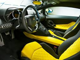 gold lamborghini with diamonds lamborghini aventador yellow leather interior and alcantara seat