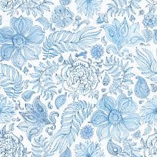 Hand Painted Wallpaper by Abstract Seamless Floral Pattern Of Indigo Blue Hand Painted