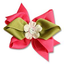 flower bow pink and green bow flower hair clip redbambina
