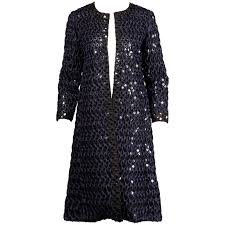 sequin ribbon oscar de la renta navy blue black embellished sequin ribbon coat