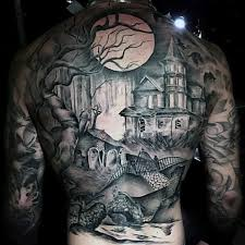 grey ink haunted house on back