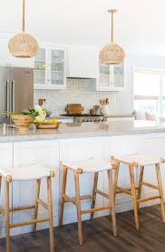 white woven pendant light white and gray kitchen features two woven dome pendant lights