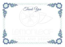 thank you card for blue bloom flat thank you note card with flower corner and