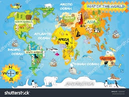 Antarctica World Map by Kids World Map Stock Illustration 116833048 Shutterstock