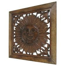carved wooden wall panel wall hanging sun nautical decor