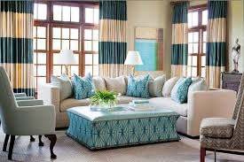 blue plaid curtains with patterned ottoman living room traditional