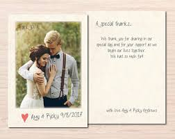 thank you cards wedding photo thank you card etsy