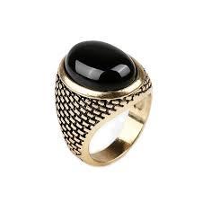 aliexpress buy mens rings black precious stones real vintage men ring gold color black ring fashion