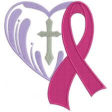 cancer awareness ribbon with a cross inside a filled machine