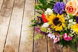 Beautiful Bouquet Of Flowers Beautiful Bunch Of Flowers On Wooden Background Horizontal View