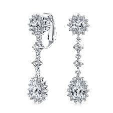 Beaded Chandelier Clip Earrings White Clip On Earrings Vintage Pearl U0026 Sterling Silver Clip Ons For