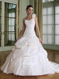 flowers one shoulder taffeta sweetheart neckline wedding dresses