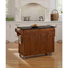 home styles create a cart warm oak kitchen cart with black granite