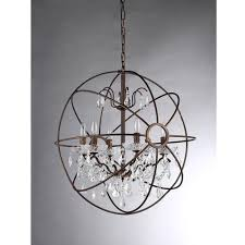 Cascading Chandelier by Warehouse Of Tiffany Edwards 6 Light Antique Bronze Sphere Crystal