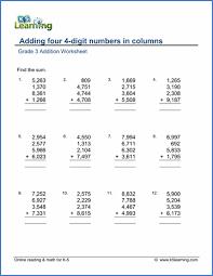 grade 3 addition worksheets free u0026 printable k5 learning