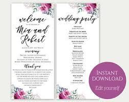 Wedding Program Templates Free Download Purple Program Etsy
