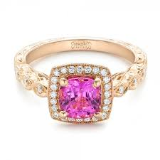 pink gold engagement rings custom gold and pink sapphire engagement ring 102285